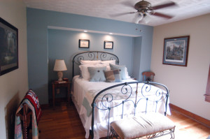 Blue room with queen bed